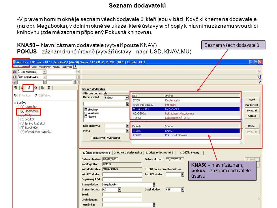 Pro snadnější vyhledání určitého dodavatele lze použít filtry pro vyhledávání.