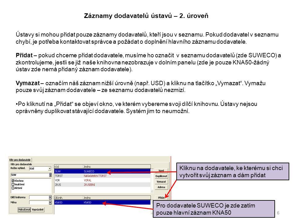 Záznamy dodavatelů ústavů – 2.