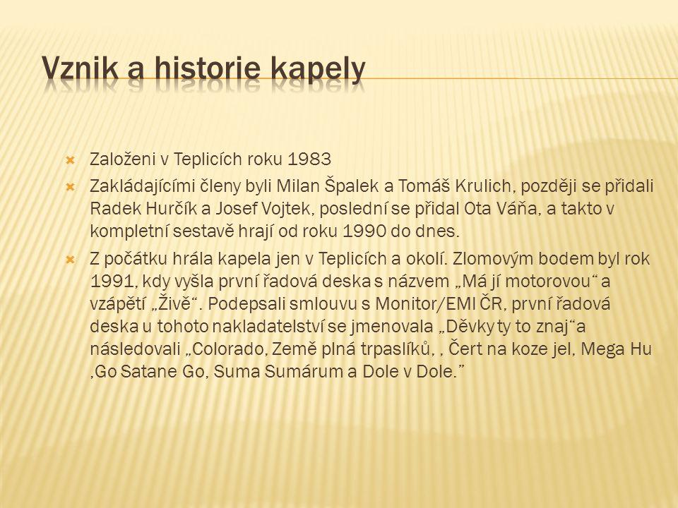  Založeni v Teplicích roku 1983  Zakládajícími členy byli Milan Špalek a Tomáš Krulich, později se přidali Radek Hurčík a Josef Vojtek, poslední se