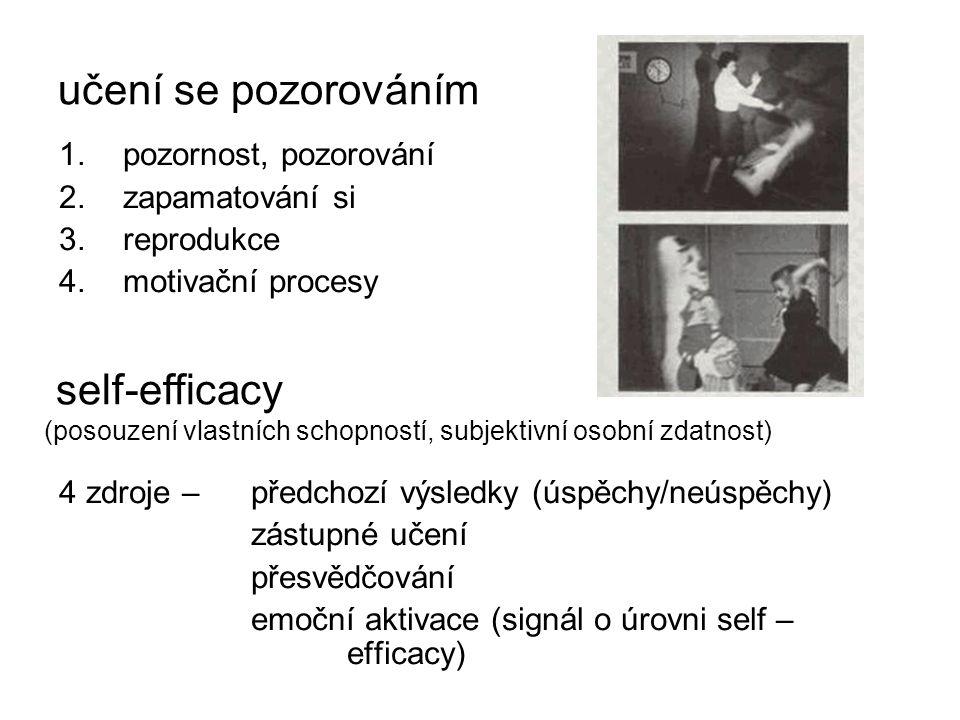 učení se pozorováním 1.pozornost, pozorování 2.zapamatování si 3.reprodukce 4.motivační procesy 4 zdroje – předchozí výsledky (úspěchy/neúspěchy) zástupné učení přesvědčování emoční aktivace (signál o úrovni self – efficacy) self-efficacy (posouzení vlastních schopností, subjektivní osobní zdatnost)
