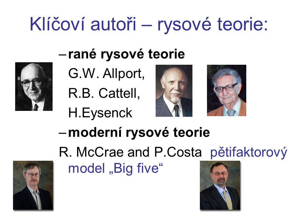 Klíčoví autoři – rysové teorie: –rané rysové teorie G.W.
