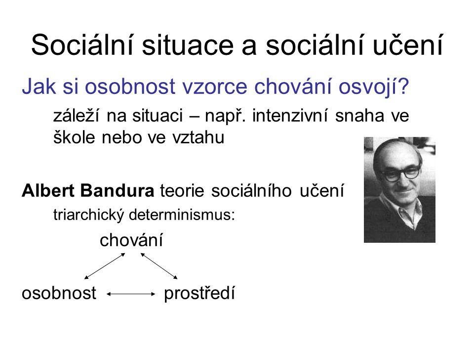 Sociální situace a sociální učení Jak si osobnost vzorce chování osvojí.