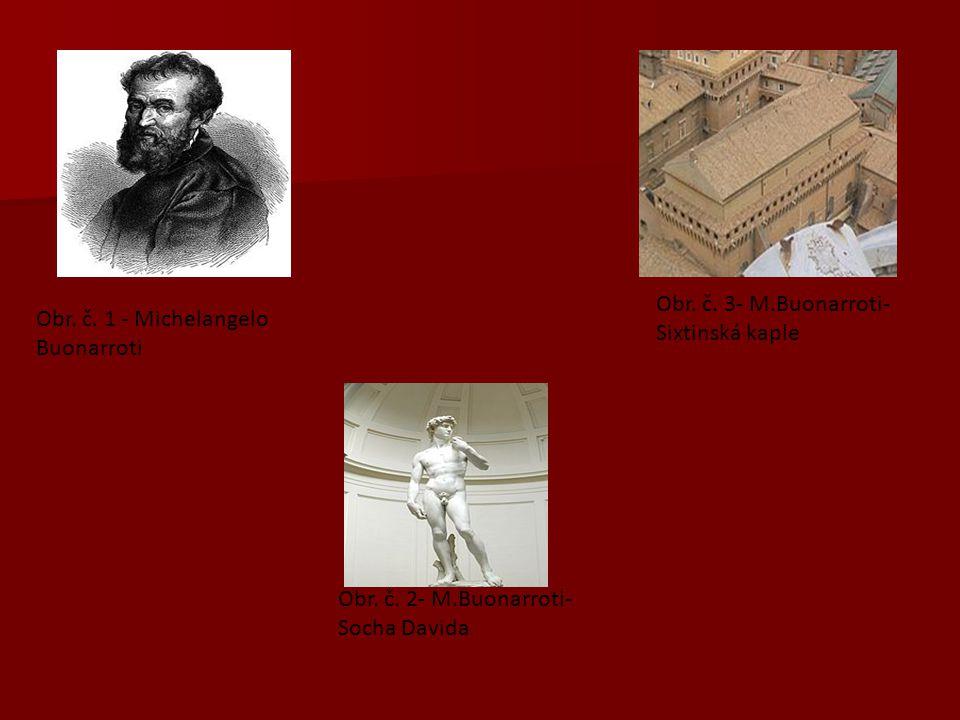 Obr. č. 1 - Michelangelo Buonarroti Obr. č. 2- M.Buonarroti- Socha Davida Obr. č. 3- M.Buonarroti- Sixtinská kaple