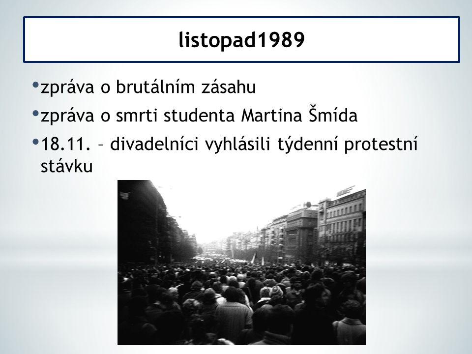 zpráva o brutálním zásahu zpráva o smrti studenta Martina Šmída 18.11. – divadelníci vyhlásili týdenní protestní stávku listopad1989