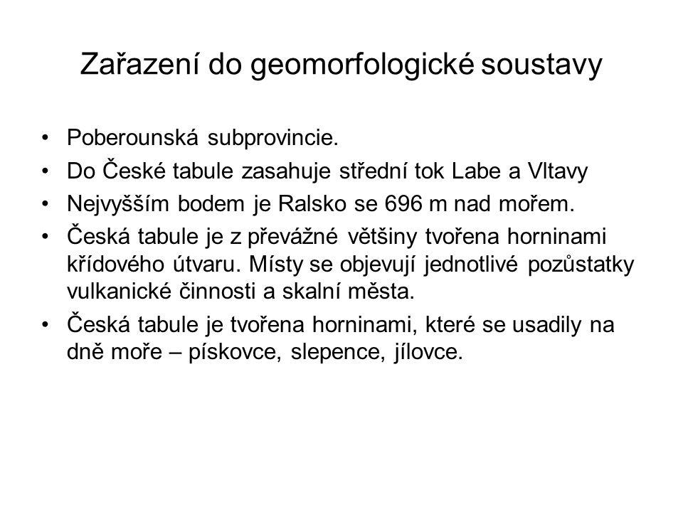 Zařazení do geomorfologické soustavy Poberounská subprovincie.