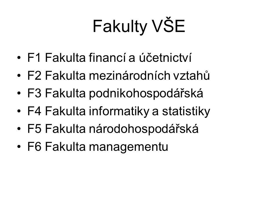 Fakulty VŠE F1 Fakulta financí a účetnictví F2 Fakulta mezinárodních vztahů F3 Fakulta podnikohospodářská F4 Fakulta informatiky a statistiky F5 Fakulta národohospodářská F6 Fakulta managementu