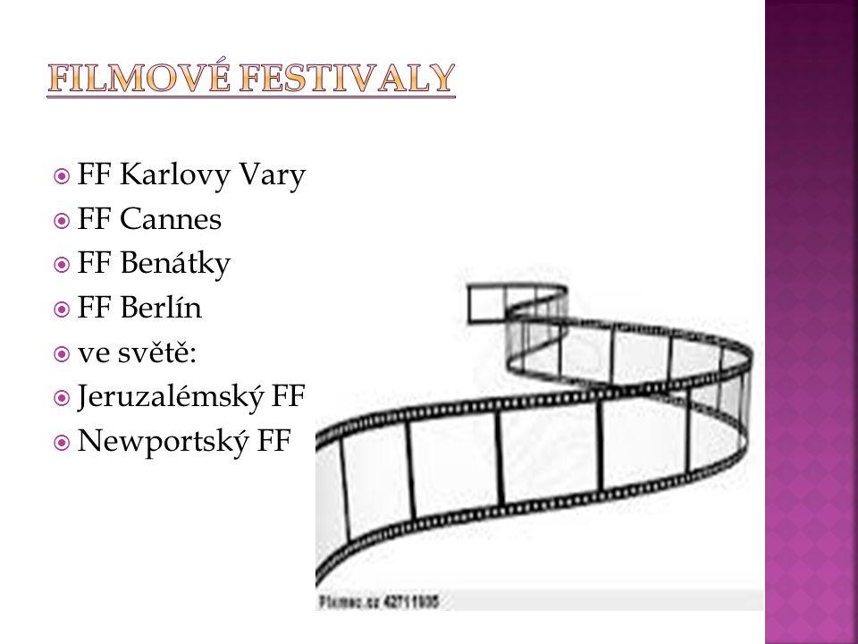  FF Karlovy Vary  FF Cannes  FF Benátky  FF Berlín  ve světě:  Jeruzalémský FF  Newportský FF