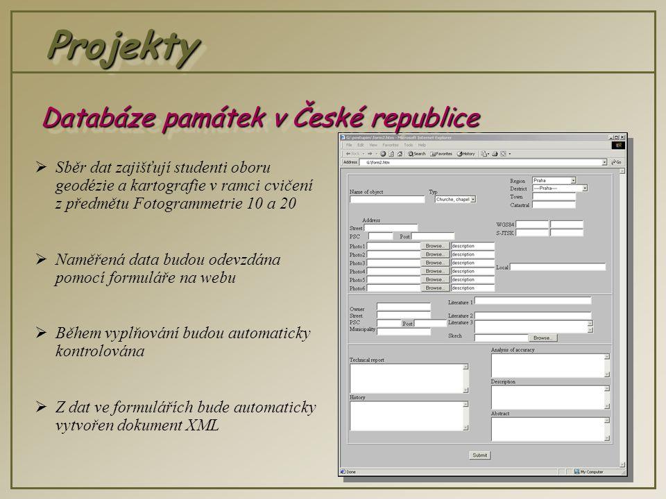 ProjektyProjekty  Sběr dat zajišťují studenti oboru geodézie a kartografie v ramci cvičení z předmětu Fotogrammetrie 10 a 20  Naměřená data budou odevzdána pomocí formuláře na webu  Během vyplňování budou automaticky kontrolována  Z dat ve formulářích bude automaticky vytvořen dokument XML Databáze památek v České republice