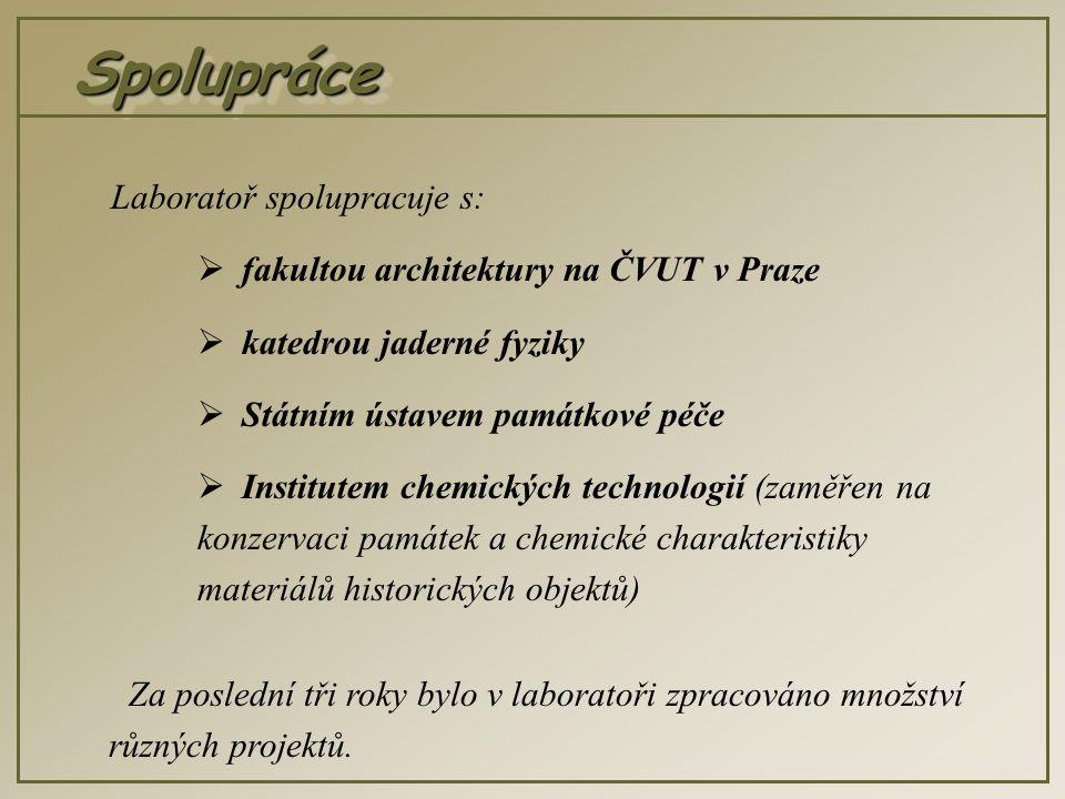 SpolupráceSpolupráce Laboratoř spolupracuje s:  fakultou architektury na ČVUT v Praze  katedrou jaderné fyziky  Státním ústavem památkové péče  Institutem chemických technologií (zaměřen na konzervaci památek a chemické charakteristiky materiálů historických objektů) Za poslední tři roky bylo v laboratoři zpracováno množství různých projektů.