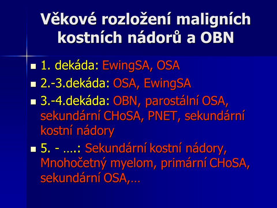 Věkové rozložení maligních kostních nádorů a OBN 1. dekáda: EwingSA, OSA 1. dekáda: EwingSA, OSA 2.-3.dekáda: OSA, EwingSA 2.-3.dekáda: OSA, EwingSA 3