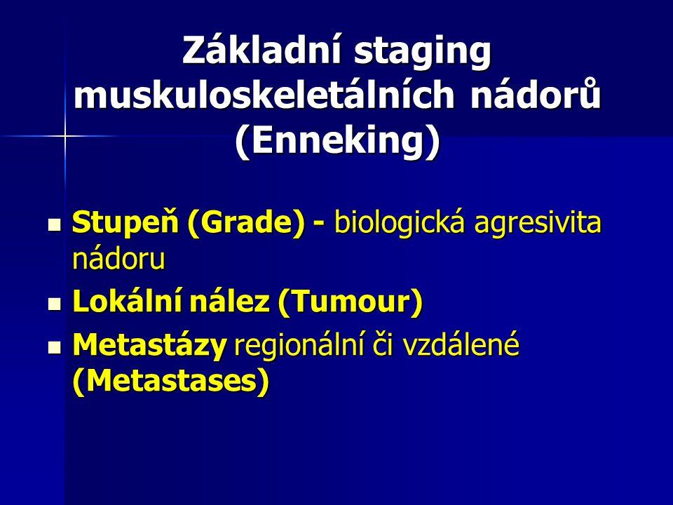 Základní staging muskuloskeletálních nádorů (Enneking) Stupeň (Grade) - biologická agresivita nádoru Stupeň (Grade) - biologická agresivita nádoru Lok