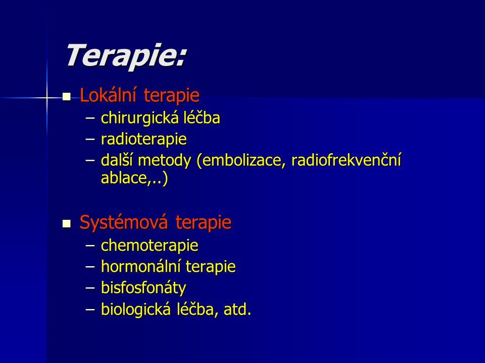 Terapie: Lokální terapie Lokální terapie –chirurgická léčba –radioterapie –další metody (embolizace, radiofrekvenční ablace,..) Systémová terapie Syst