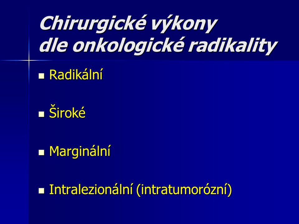 Chirurgické výkony dle onkologické radikality Radikální Radikální Široké Široké Marginální Marginální Intralezionální (intratumorózní) Intralezionální
