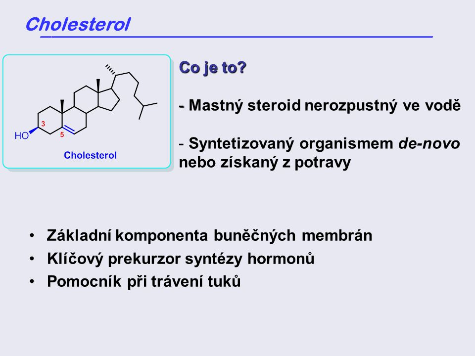 Cholesterol _____________________________________ Co je to.