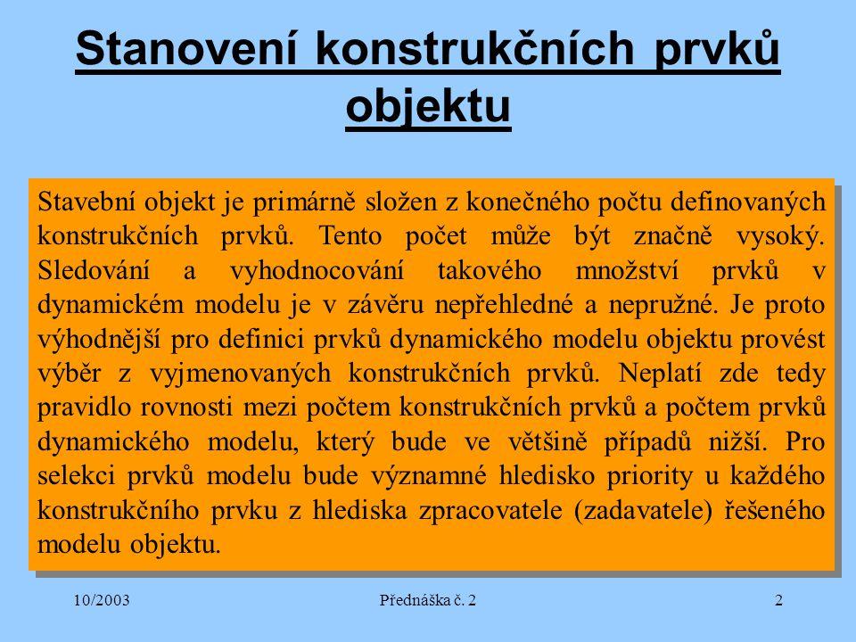 10/2003Přednáška č.23 Příklad selekce prvků modelu 1.
