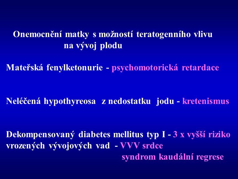 Onemocnění matky s možností teratogenního vlivu na vývoj plodu Mateřská fenylketonurie - psychomotorická retardace Neléčená hypothyreosa z nedostatku