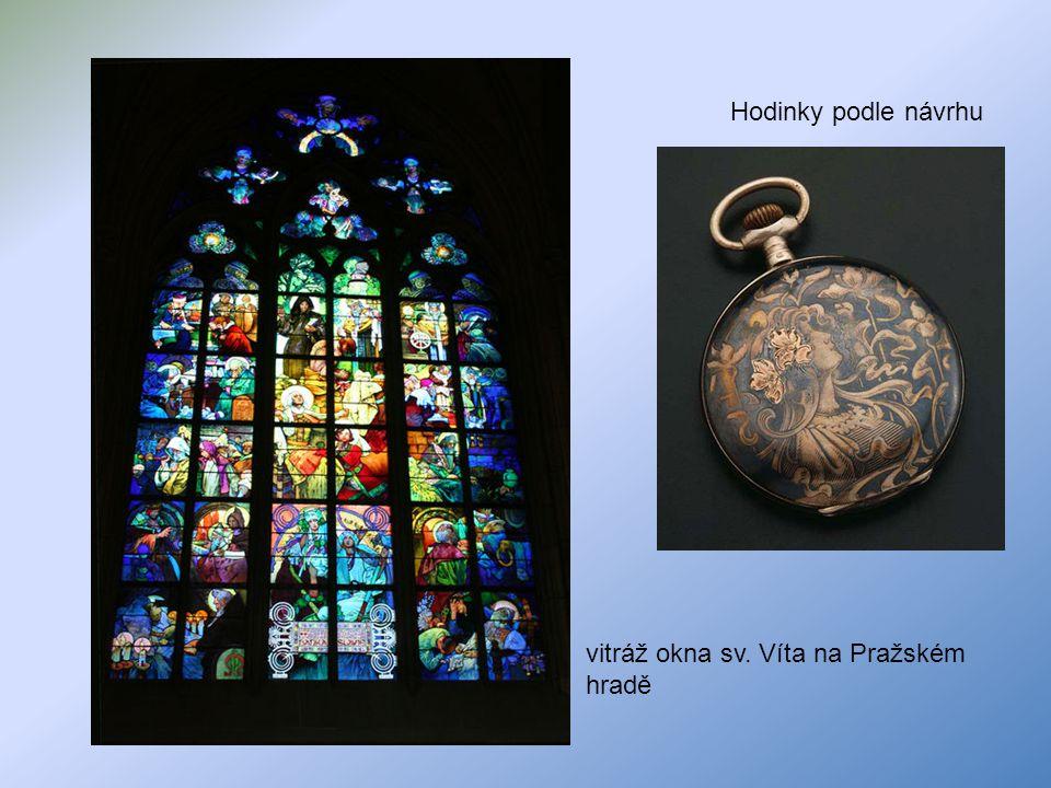 vitráž okna sv. Víta na Pražském hradě Hodinky podle návrhu