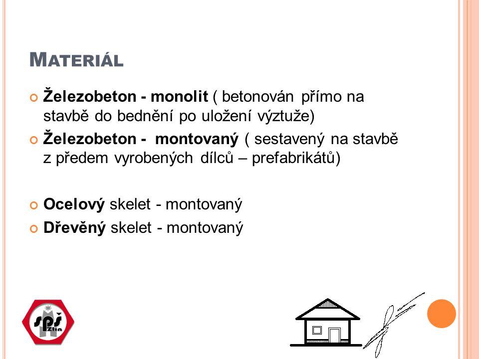 M ATERIÁL Železobeton - monolit ( betonován přímo na stavbě do bednění po uložení výztuže) Železobeton - montovaný ( sestavený na stavbě z předem vyrobených dílců – prefabrikátů) Ocelový skelet - montovaný Dřevěný skelet - montovaný