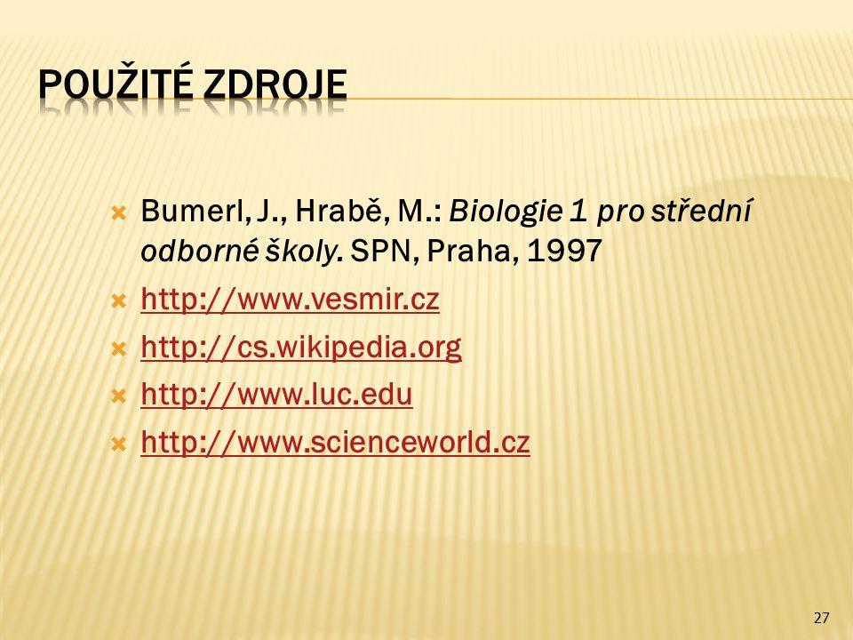  Bumerl, J., Hrabě, M.: Biologie 1 pro střední odborné školy. SPN, Praha, 1997  http://www.vesmir.cz http://www.vesmir.cz  http://cs.wikipedia.org