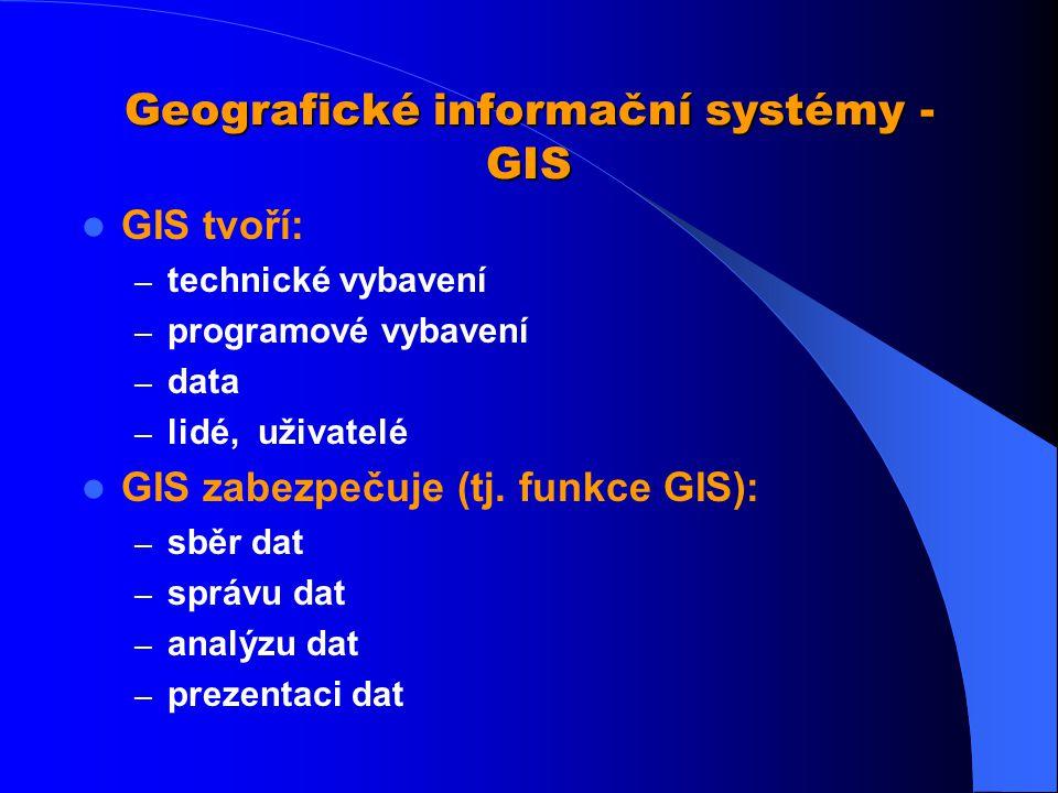 GIS - definice organizovaný, počítačově založený systém hardwaru + softwaru + geografických informací a lidí vyvinutý: ke vstupu, správě, analytickému zpracování a prezentaci prostorových dat