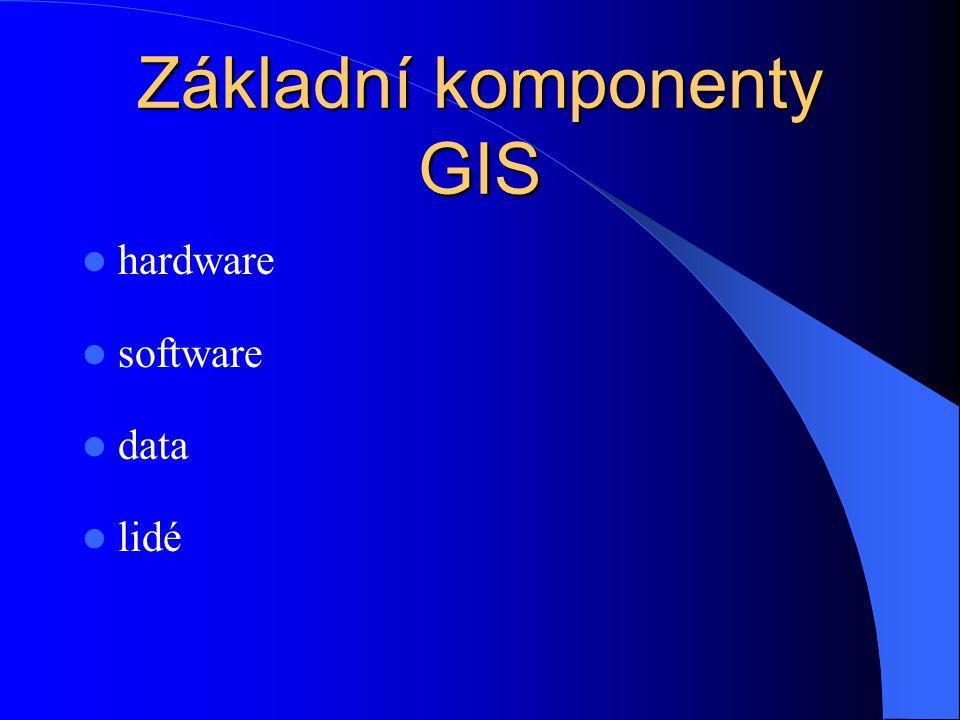 Geografické informační systémy - GIS GIS tvoří: – technické vybavení – programové vybavení – data – lidé, uživatelé GIS zabezpečuje (tj.
