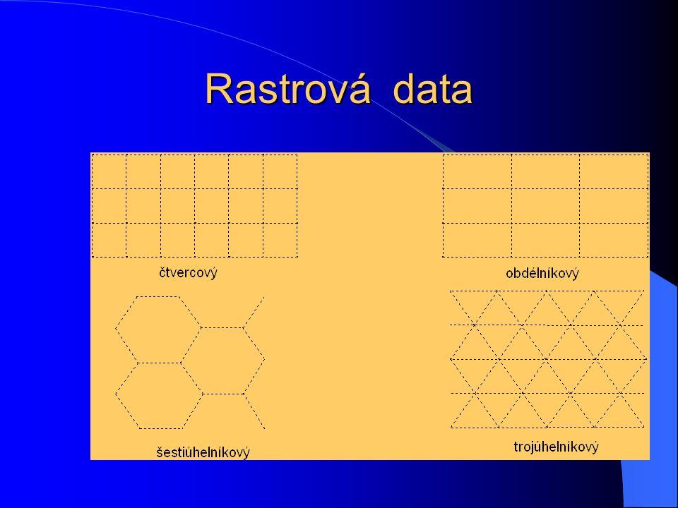 Vektorový formát Příklad dat ve vektorovém formátu (digitální model území DMÚ 200) Atributová tabulka vektorová kresba