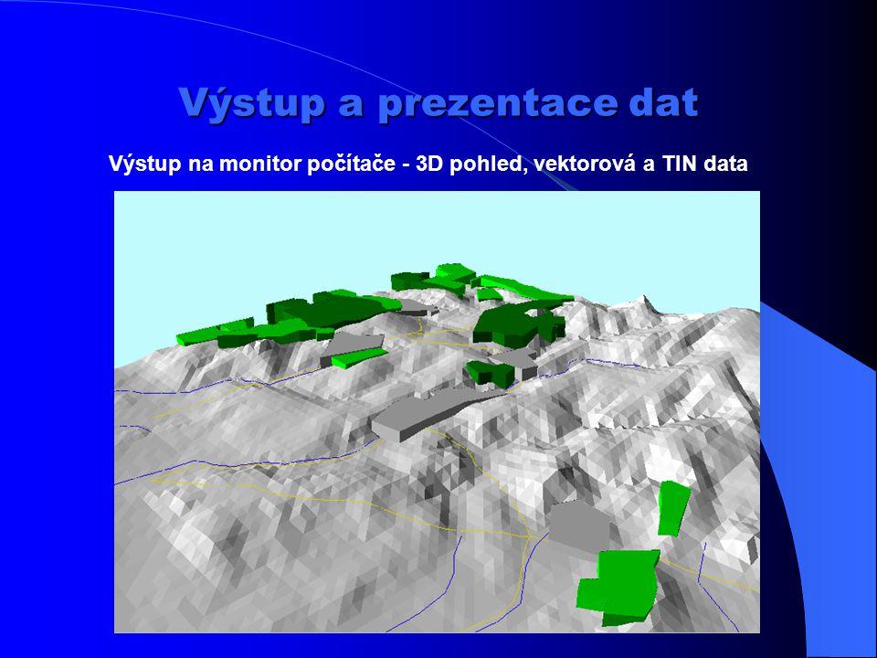 """Výstup a prezentace dat Výstup ve formě """"mapy"""" – symbolizovaná vektorová data Název mapy Značkový klíč Rámové údaje – souřadnicová síť Měřítko Vydavat"""