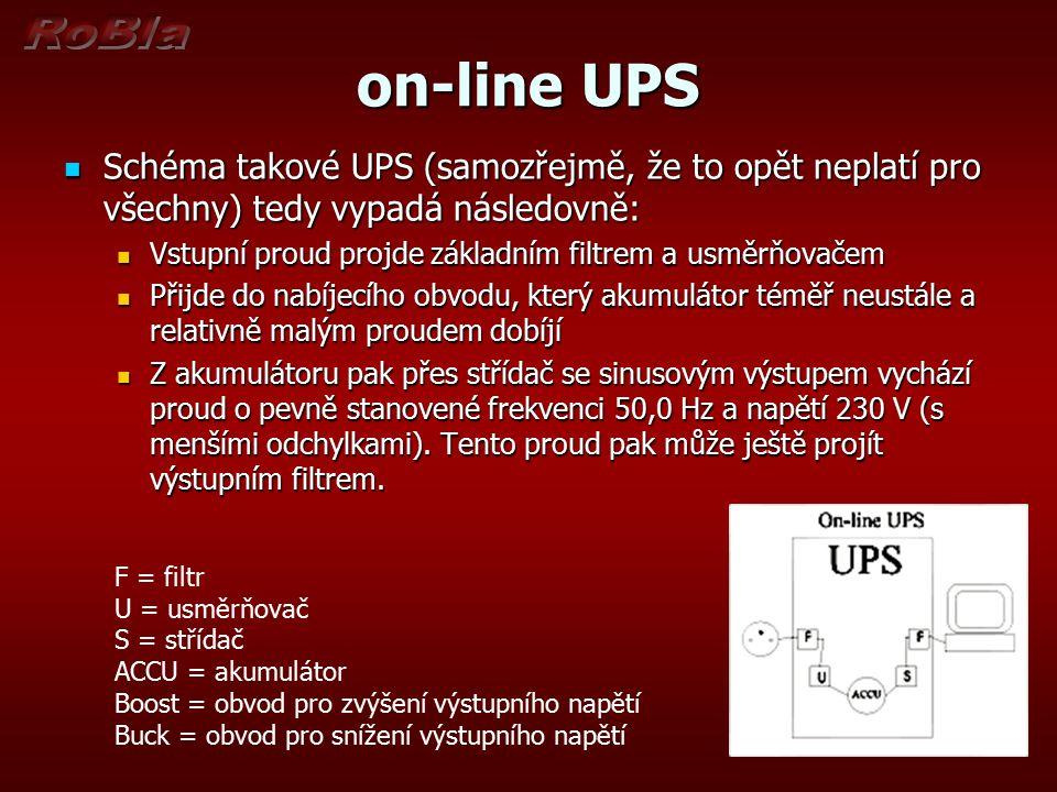 on-line UPS Schéma takové UPS (samozřejmě, že to opět neplatí pro všechny) tedy vypadá následovně: Schéma takové UPS (samozřejmě, že to opět neplatí p