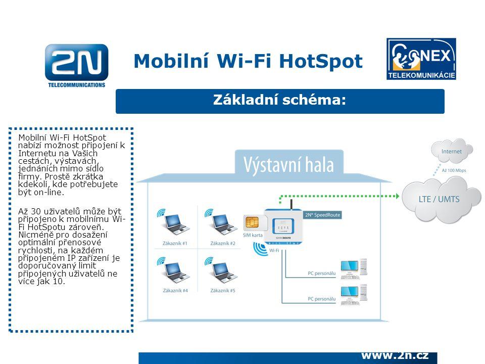 Základní schéma: Mobilní Wi-Fi HotSpot nabízí možnost připojení k Internetu na Vašich cestách, výstavách, jednáních mimo sídlo firmy. Prostě zkrátka k