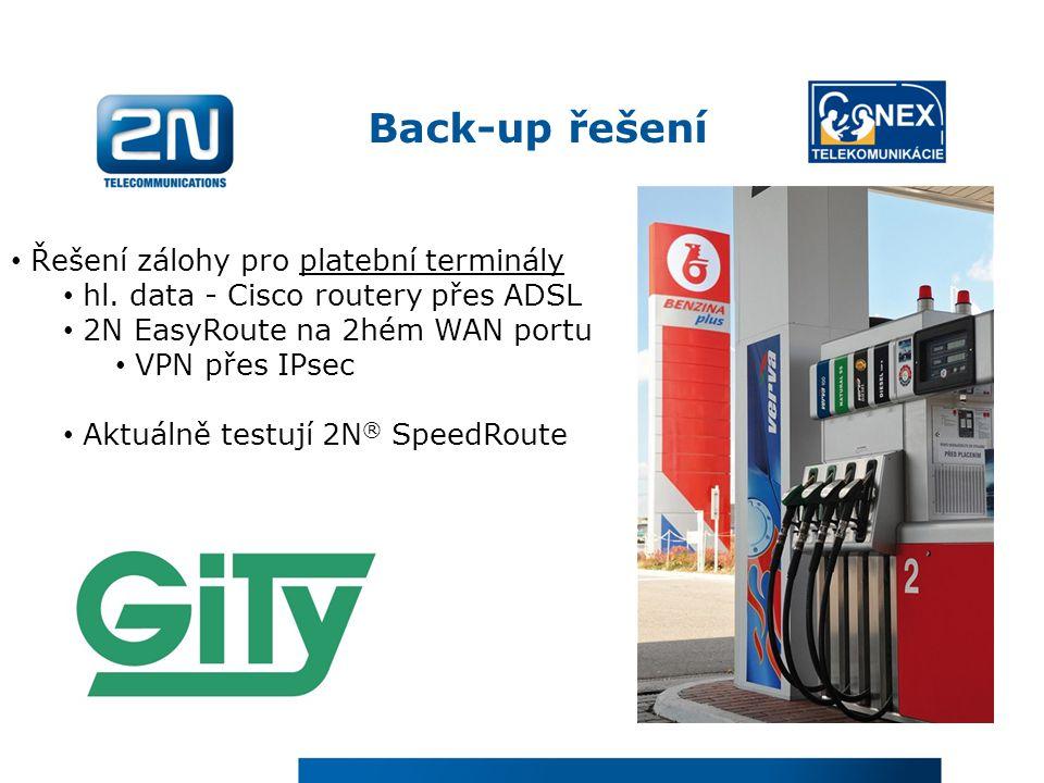 Back-up řešení Řešení zálohy pro platební terminály hl. data - Cisco routery přes ADSL 2N EasyRoute na 2hém WAN portu VPN přes IPsec Aktuálně testují