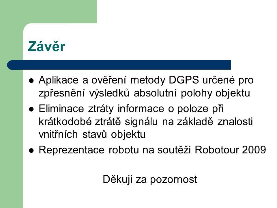 Závěr Aplikace a ověření metody DGPS určené pro zpřesnění výsledků absolutní polohy objektu Eliminace ztráty informace o poloze při krátkodobé ztrátě