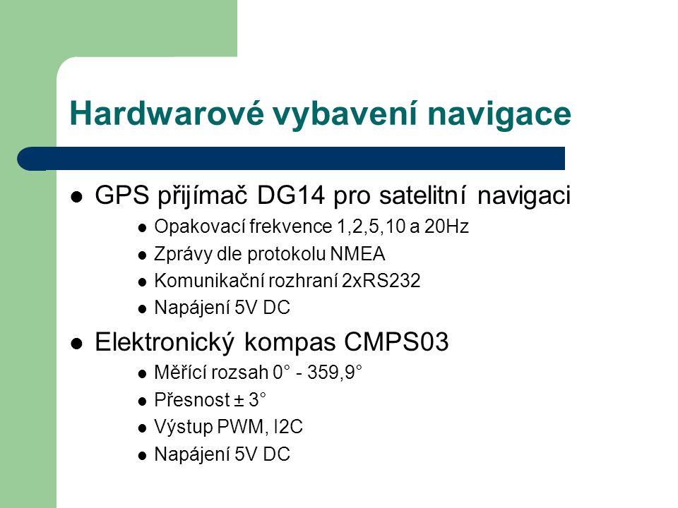 Hardwarové vybavení navigace GPS přijímač DG14 pro satelitní navigaci Opakovací frekvence 1,2,5,10 a 20Hz Zprávy dle protokolu NMEA Komunikační rozhra