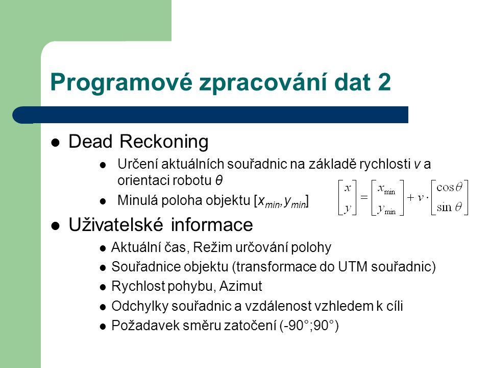 Programové zpracování dat 2 Dead Reckoning Určení aktuálních souřadnic na základě rychlosti v a orientaci robotu θ Minulá poloha objektu [x min,y min