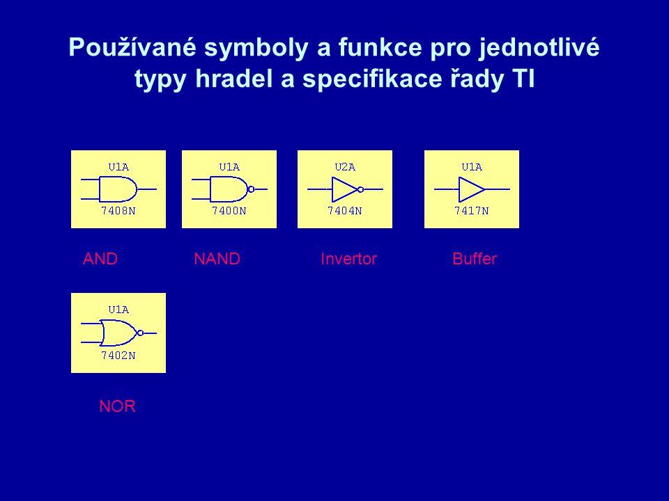 Používané symboly a funkce pro jednotlivé typy hradel a specifikace řady TI NANDAND NOR InvertorBuffer