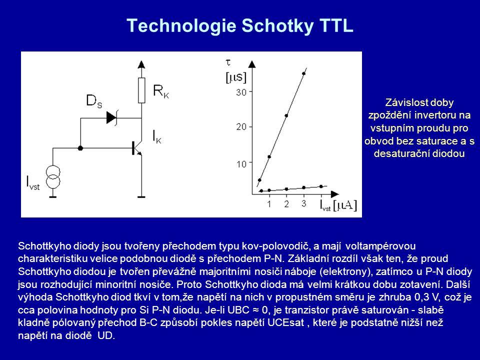 Technologie Schotky TTL Schottkyho diody jsou tvořeny přechodem typu kov-polovodič, a mají voltampérovou charakteristiku velice podobnou diodě s přech
