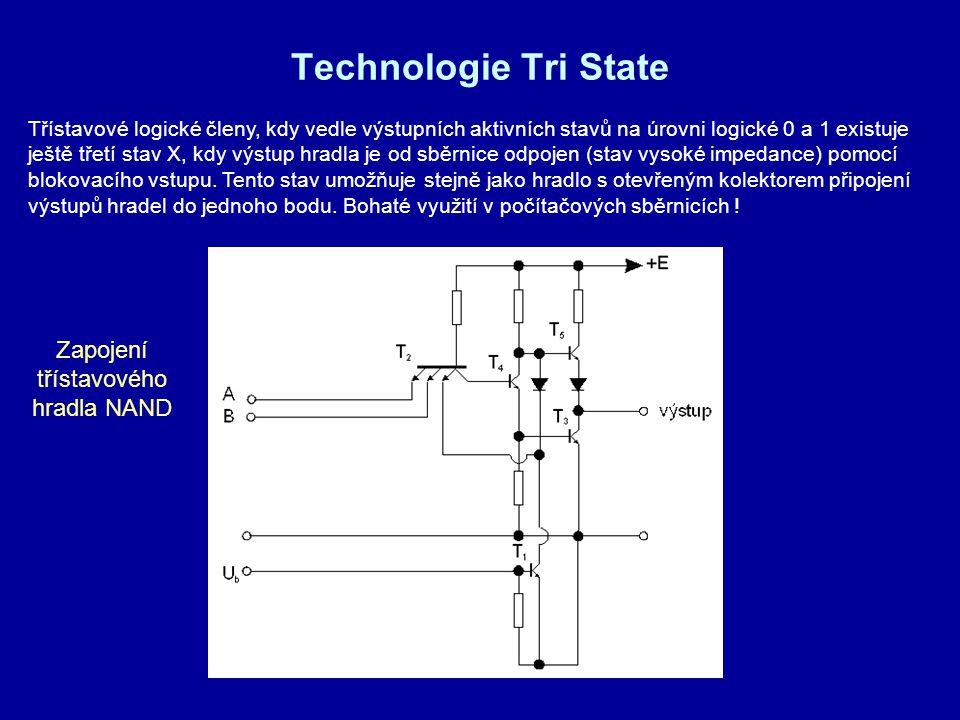 Technologie Tri State Třístavové logické členy, kdy vedle výstupních aktivních stavů na úrovni logické 0 a 1 existuje ještě třetí stav X, kdy výstup h