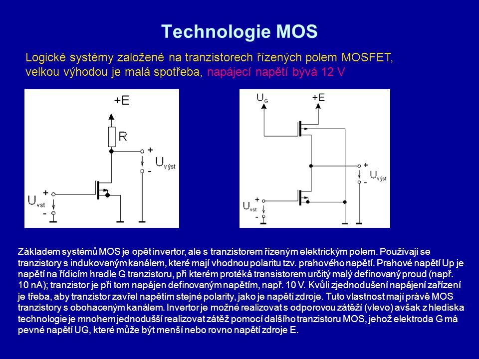 Technologie MOS Logické systémy založené na tranzistorech řízených polem MOSFET, velkou výhodou je malá spotřeba, napájecí napětí bývá 12 V Základem s