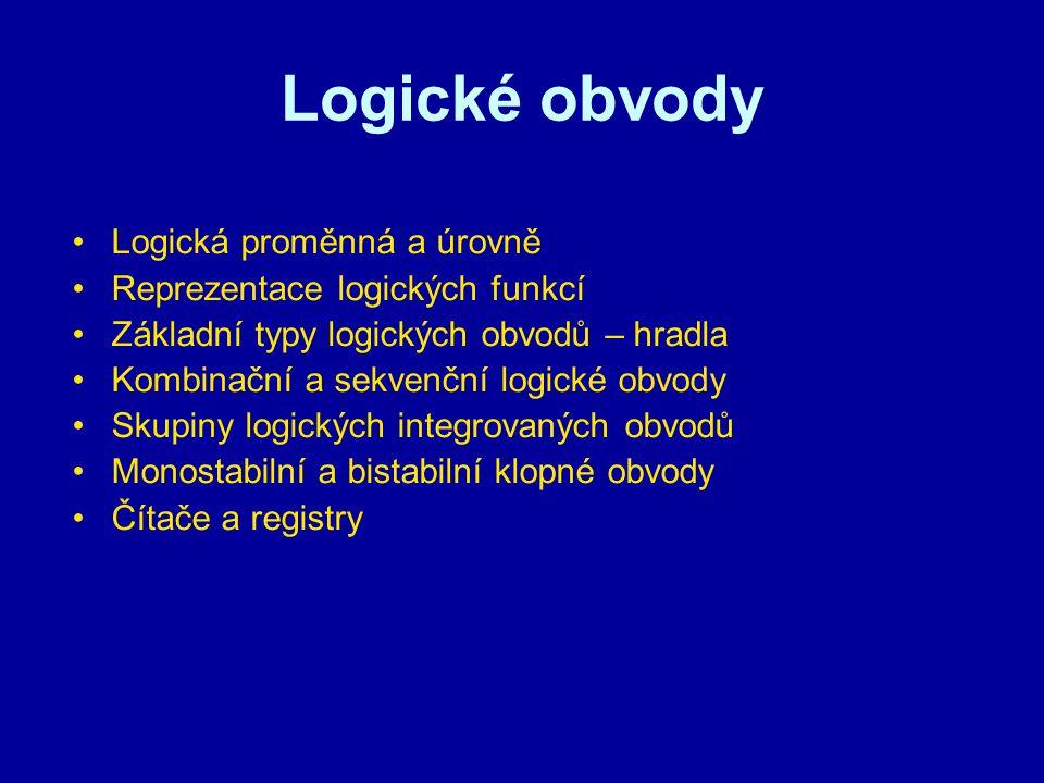 Logické obvody Logická proměnná a úrovně Reprezentace logických funkcí Základní typy logických obvodů – hradla Kombinační a sekvenční logické obvody S