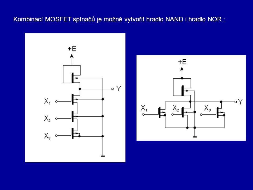 Kombinací MOSFET spínačů je možné vytvořit hradlo NAND i hradlo NOR :
