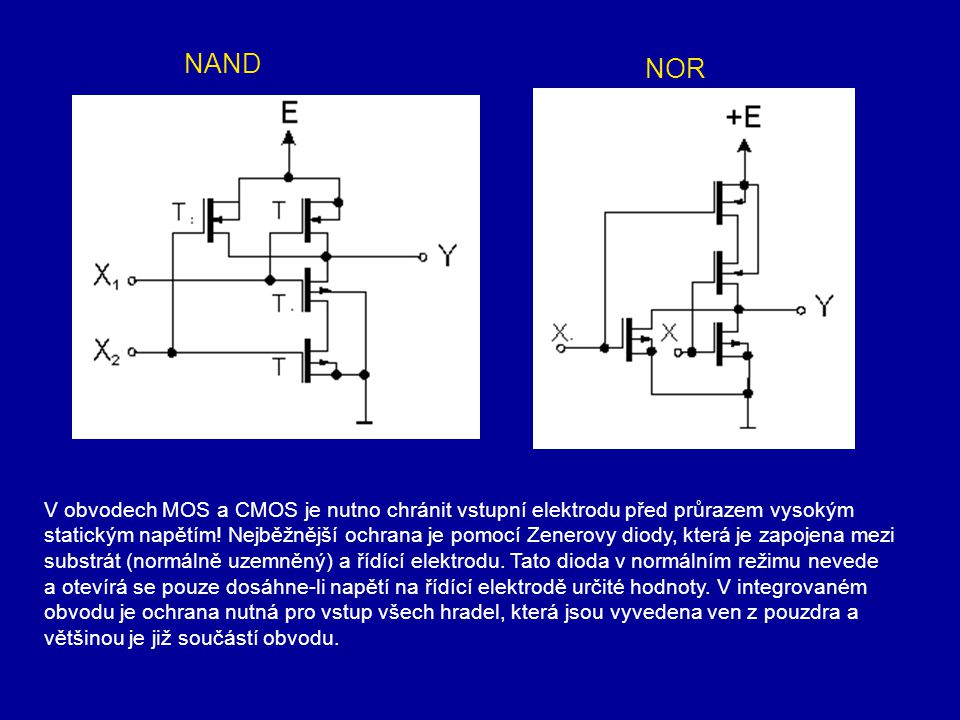 V obvodech MOS a CMOS je nutno chránit vstupní elektrodu před průrazem vysokým statickým napětím! Nejběžnější ochrana je pomocí Zenerovy diody, která