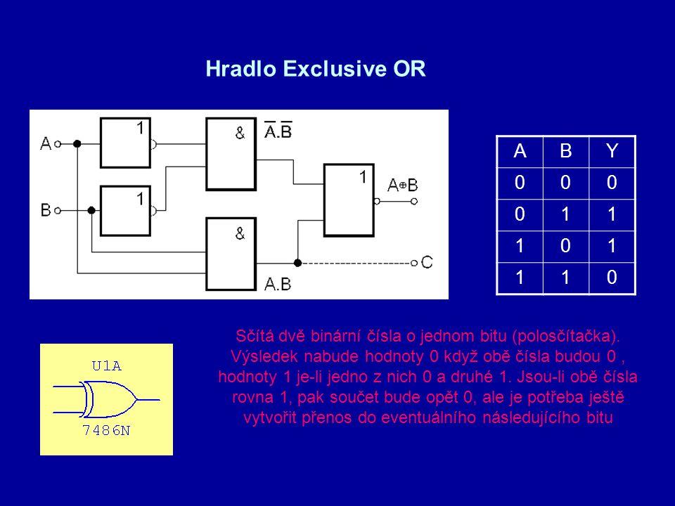 Hradlo Exclusive OR ABY 000 011 101 110 Sčítá dvě binární čísla o jednom bitu (polosčítačka). Výsledek nabude hodnoty 0 když obě čísla budou 0, hodnot
