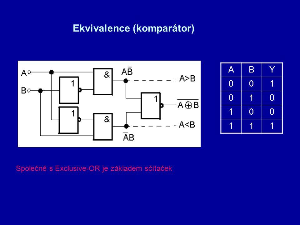 ABY 001 010 100 111 Ekvivalence (komparátor) Společně s Exclusive-OR je základem sčítaček