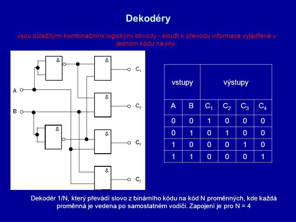 Dekodéry vstupyvýstupy ABC1C1 C2C2 C3C3 C4C4 001000 010100 100010 110001 Jsou důležitými kombinačními logickými obvody - slouží k převodu informace vy