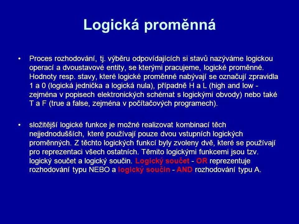 Logická proměnná Proces rozhodování, tj. výběru odpovídajících si stavů nazýváme logickou operací a dvoustavové entity, se kterými pracujeme, logické