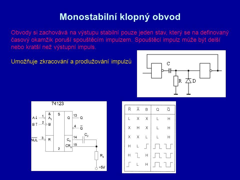 Monostabilní klopný obvod Obvody si zachovává na výstupu stabilní pouze jeden stav, který se na definovaný časový okamžik poruší spouštěcím impulzem.