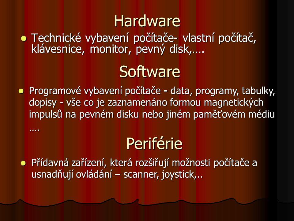 Hardware Technické vybavení počítače- vlastní počítač, klávesnice, monitor, pevný disk,….