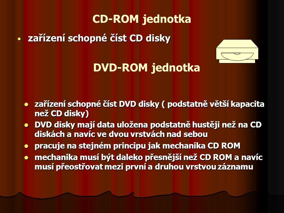 CD-ROM jednotka zařízení schopné číst CD disky zařízení schopné číst CD disky DVD-ROM jednotka zařízení schopné číst DVD disky ( podstatně větší kapacita než CD disky) zařízení schopné číst DVD disky ( podstatně větší kapacita než CD disky) DVD disky mají data uložena podstatně hustěji než na CD diskách a navíc ve dvou vrstvách nad sebou DVD disky mají data uložena podstatně hustěji než na CD diskách a navíc ve dvou vrstvách nad sebou pracuje na stejném principu jak mechanika CD ROM pracuje na stejném principu jak mechanika CD ROM mechanika musí být daleko přesnější než CD ROM a navíc musí přeostřovat mezi první a druhou vrstvou záznamu mechanika musí být daleko přesnější než CD ROM a navíc musí přeostřovat mezi první a druhou vrstvou záznamu
