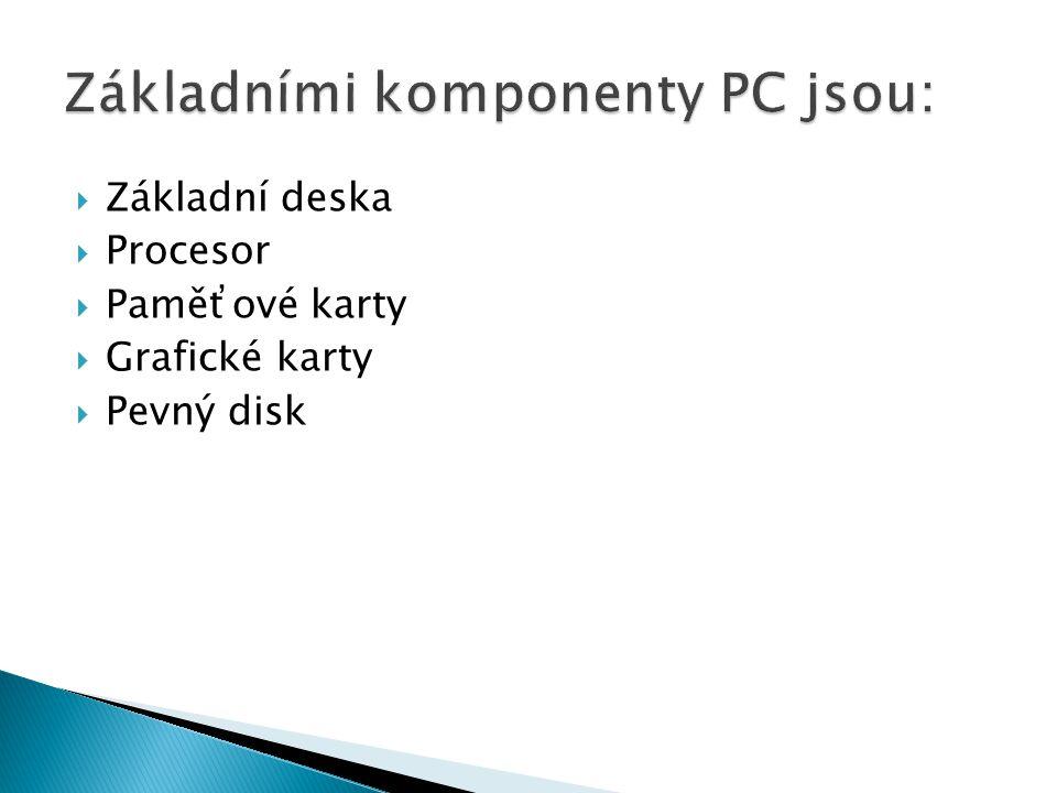  Základní deska  Procesor  Paměťové karty  Grafické karty  Pevný disk