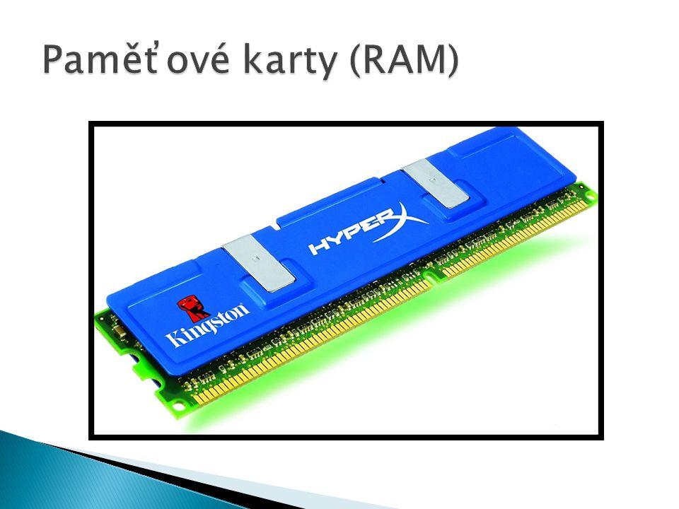  Zkratka pro Random Access Memory  Elektronická paměť, která umožňuje přístup k libovolné části ve stálém čase bez ohledu na její fyzické umístění  Užití jako operační paměť  Je volatilní  Lze je kombinovat