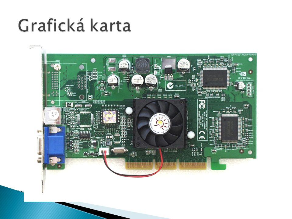  Zobrazuje grafiku  Základní rozdělení na grafický procesor a paměti  Je třeba chlazení – aktivní / pasivní